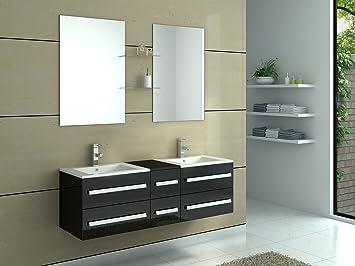 Meuble De Salle Bain Double Vasques 6 Tiroirs Coloris Noir Brillant Miroir Vasuqe