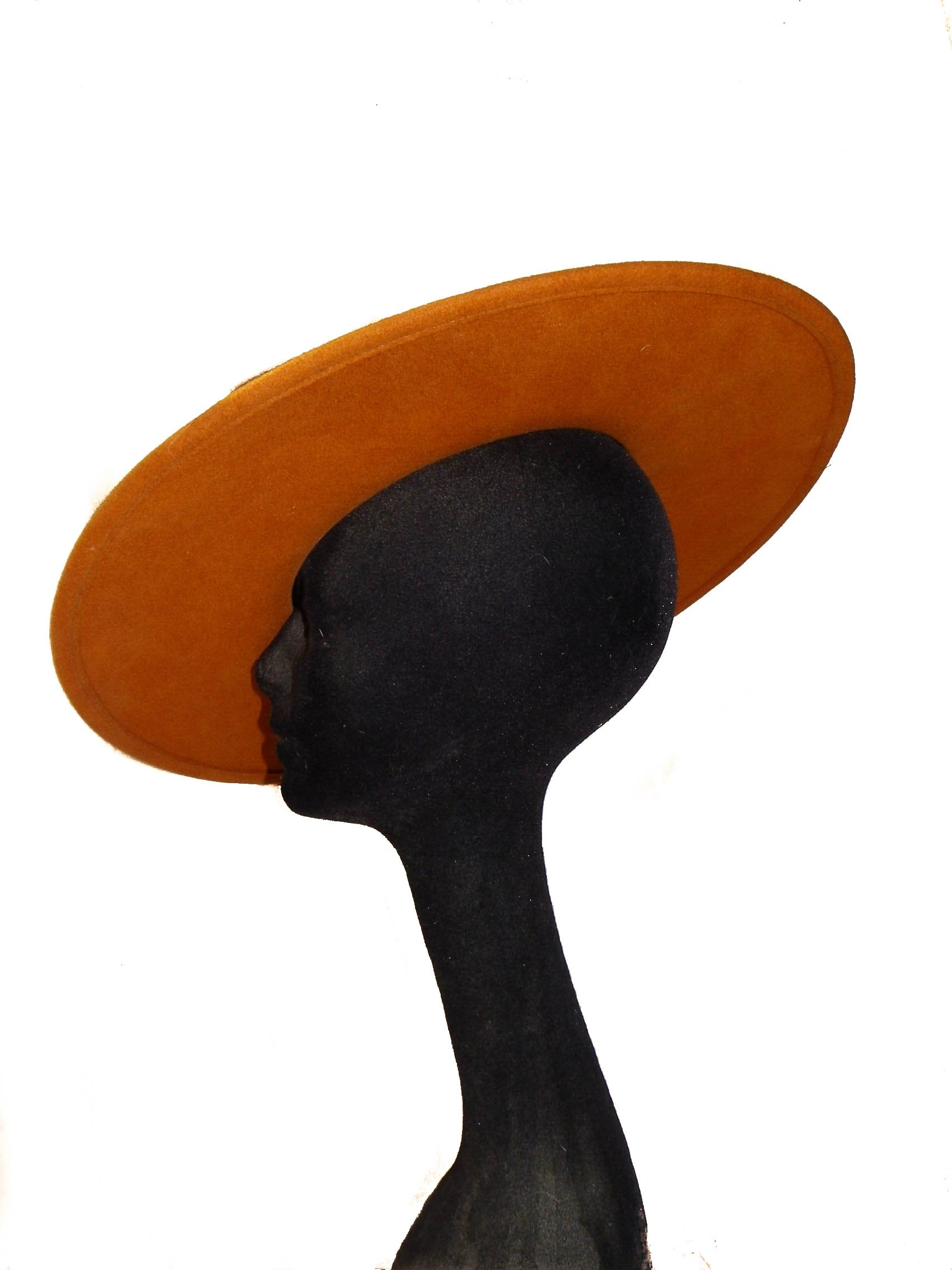 Style Of Individuality Wide Brim Wool Felt Hat In FALL'S Pumpkin, West's Turquoise, With Sparkles! by Style Of Individuality (Image #2)