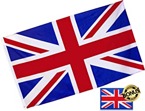 Eugenys United Kingdom UK Flag (Union Jack, British) 3x5 Foot - Free British Flag Patch Included - Quality Polyester, Bright Vivid Colors, Durable Brass Grommets - Perfect Banner for Indoor/Outdoor