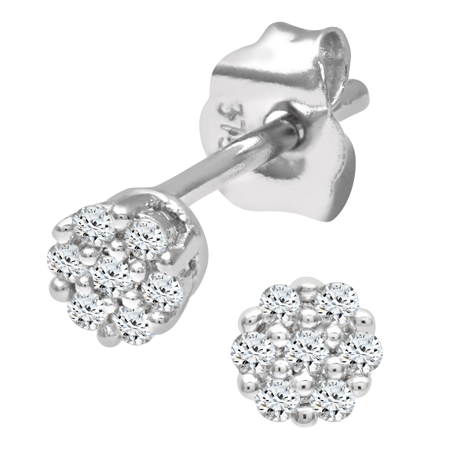 top prong four view studs stud earrings diamond round in white gold