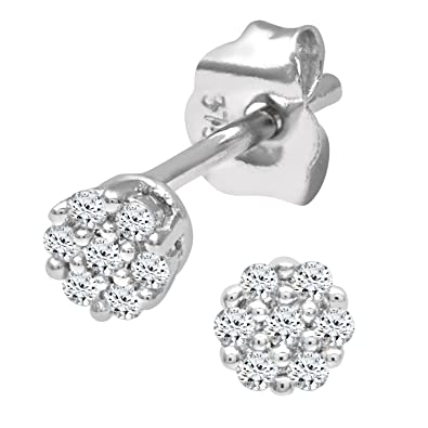 ed76fad0a987 Naava Pendientes de Mujer con Oro blanco de 9 quilates (375) con Diamantes  Brillantes  Amazon.es  Joyería