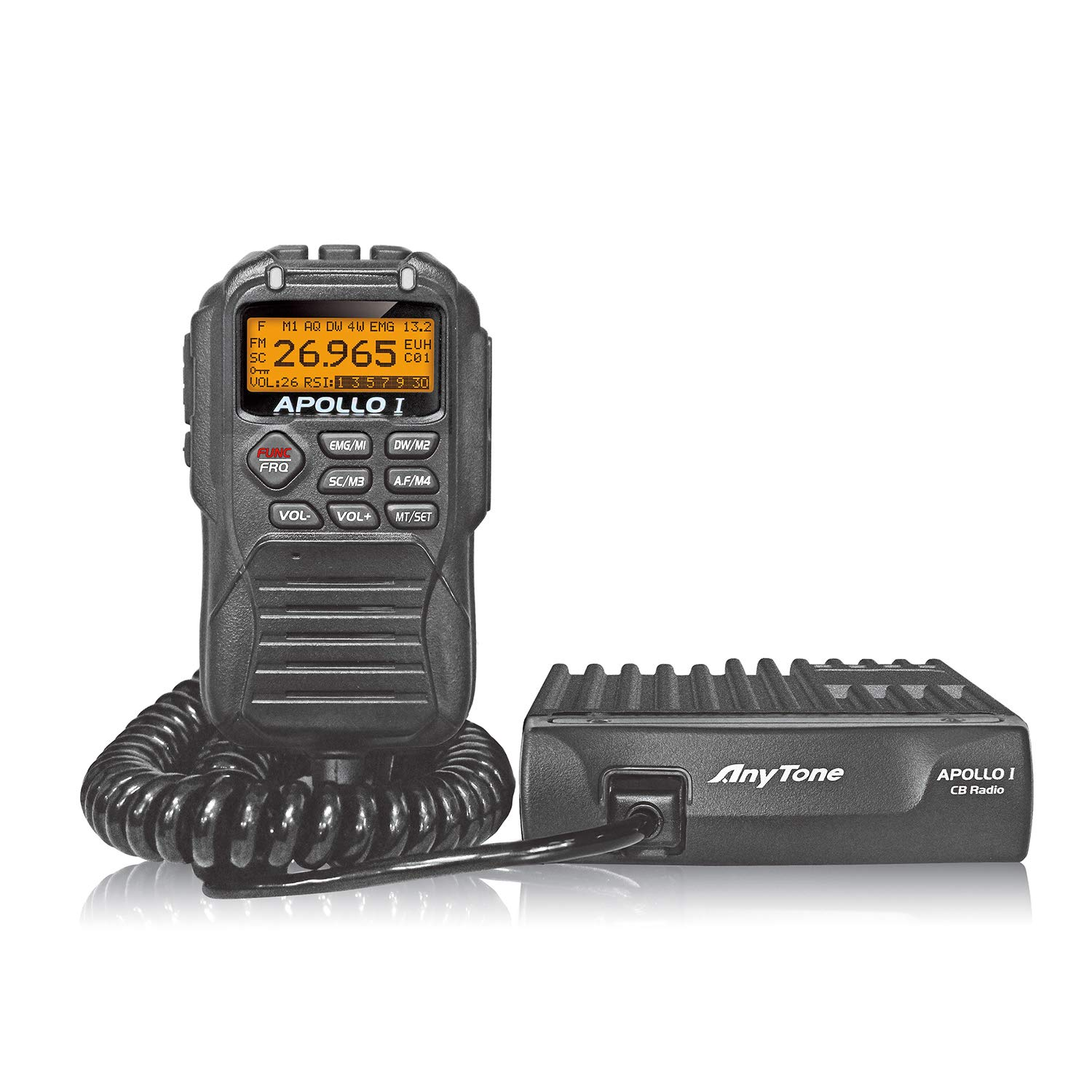 AnyTone APOLLO I 10 Meter Amateur Radio for truck, LCD display and function key in microphone, AM PEP power over 17W by AnyTone