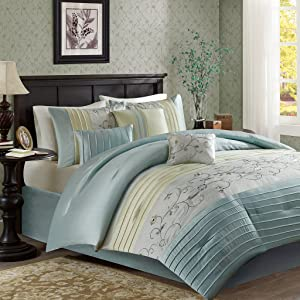 Madison Park Serene King Size Bed Comforter Set Bed in A Bag - Aqua, Embroidered – 7 Pieces Bedding Sets – Faux Silk Bedroom Comforters