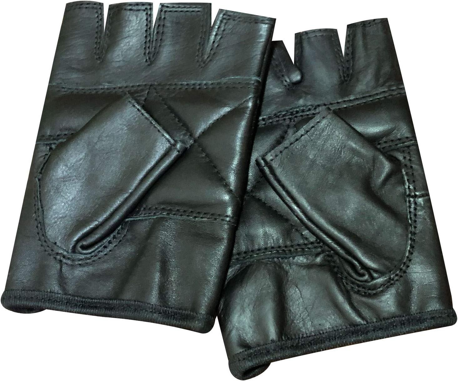 Pour motard Mitaines /à clous PrimeLeather en cuir v/éritable noir de qualit/é sup/érieure