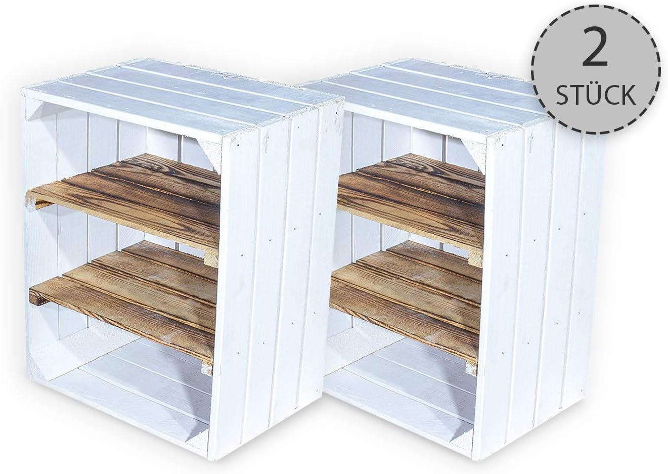 Vintage -Möbel24 - Juego de 2 cajas de fruta con tabla intermedia flameada horizontal – Cajas de madera como zapatero – Shabby Chic – 50 x 30 x 40 cm