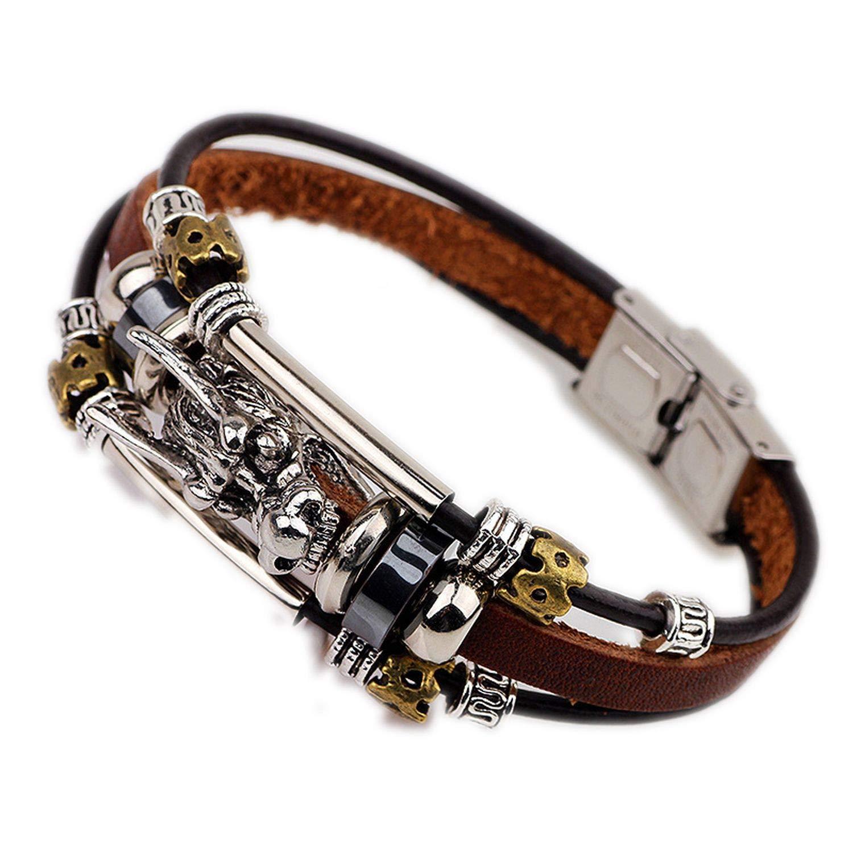 henyangsh Bracelet Homme Accessoires Bracelet Tib/étain Argent Homme Bracelet en Cuir Homme Homme Vintage Dragon Forme Bijoux Multicouche