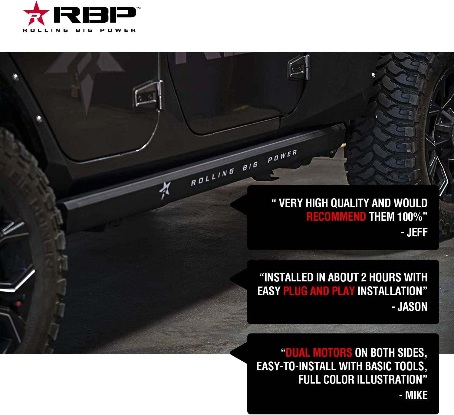 RBP RBP-510-SP 18-19 Stealth Power Assist Electric Running Boards for Jeep Wrangler JL Unlimited 4 Door