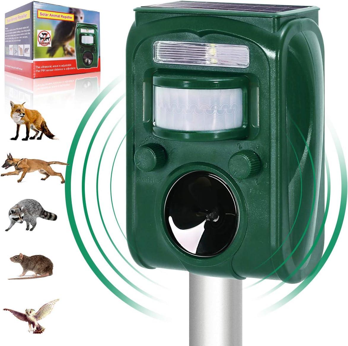 Vboer Outdoor Solar Ultrasonic Animal Repeller, with Motion Sensor and Flash Intimidationcat ,Dog, Raccoon, Rabbit, Squirrel, Fox, Birds, Skunks, etc Protect The Farm Garden Yard