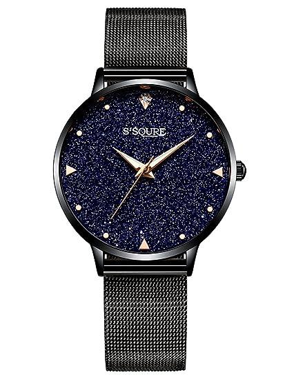 Alienwork Reloj Mujer Relojes Acero Inoxidable Negro Analógicos Cuarzo Impermeable Esfera del mármol Verdadero