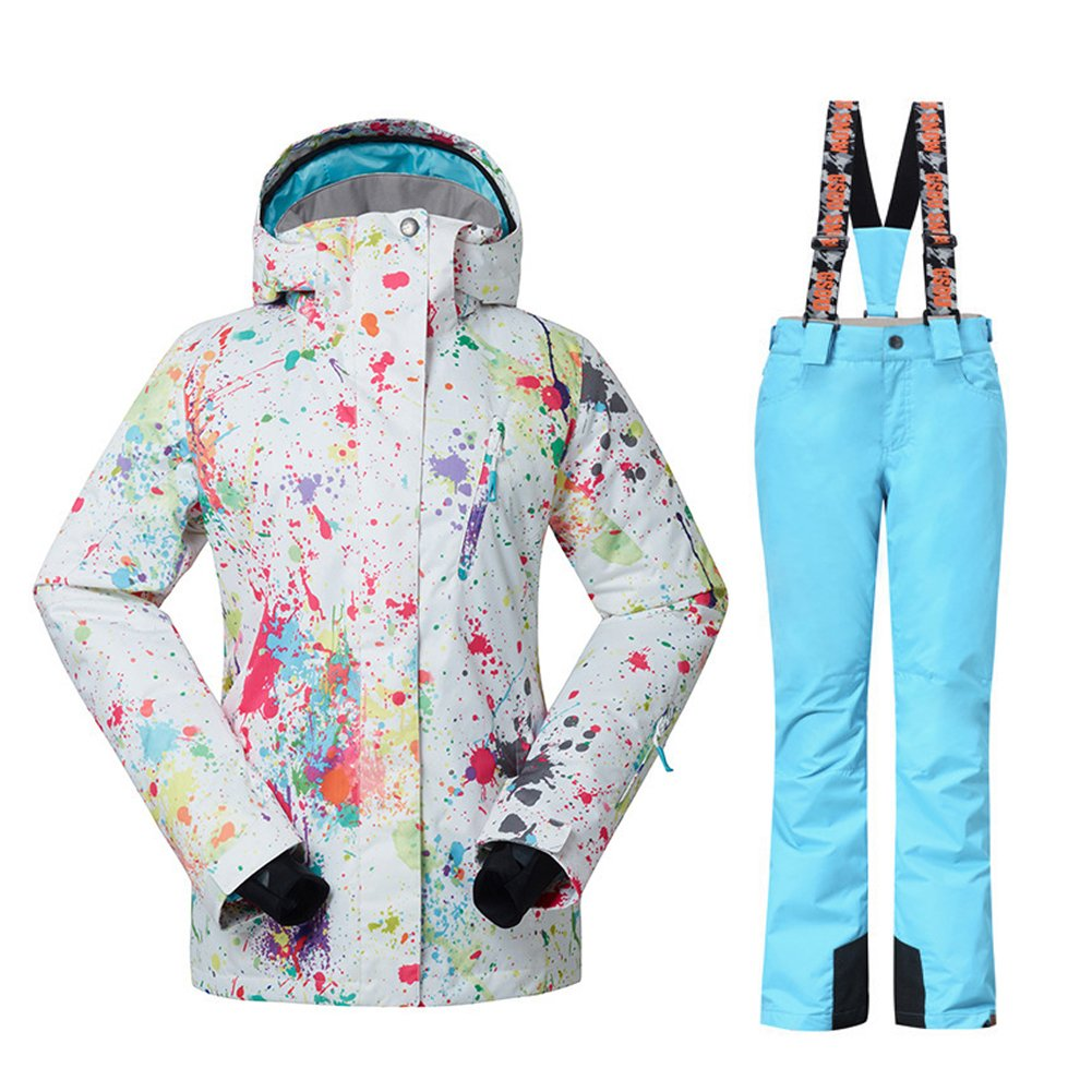 HOTIAN Women's High Windproof Technology Colorful Printed Snowboarding Jacket+Pants