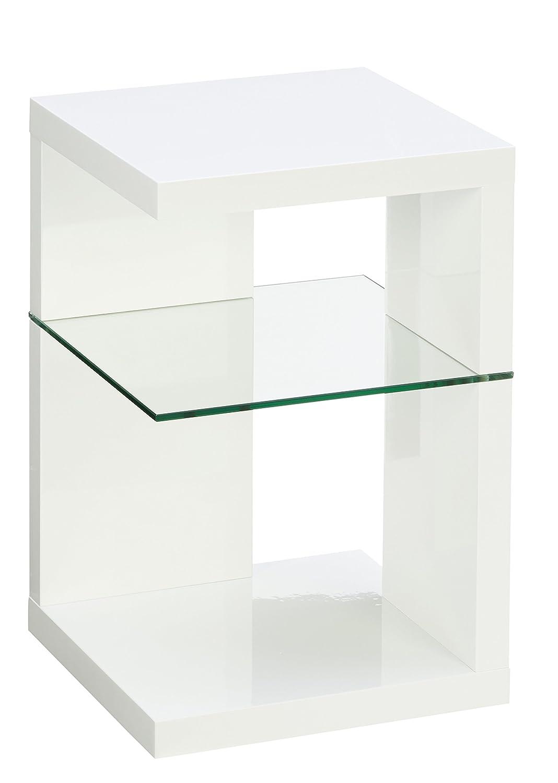 HomeTrends4You 516250 - Tavolino d'appoggio 40 x 60 x 40 cm, colore: Bianco lucido
