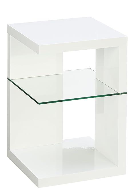 Tavolino 60 X 40.Hometrends4you 516250 Tavolino D Appoggio 40 X 60 X 40 Cm Colore Bianco Lucido