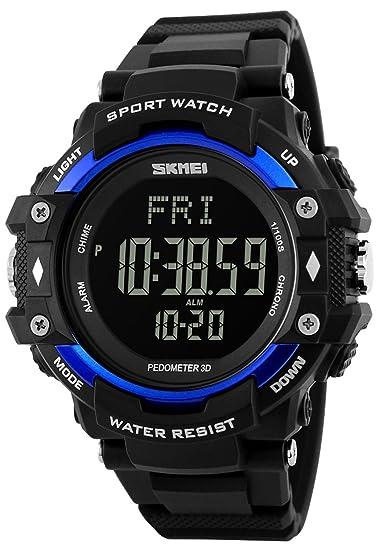 carlien salud relojes 3d podómetro PULSÓMETRO calorías contador Digital resistente al agua LED reloj
