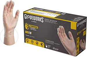GLOVEPLUS Industrial Clear VinylGloves, Box of 100, 4 mil, Size Small, Latex Free, Powdered, Food Safe, Disposable, Non-Sterile, IV42100-BX