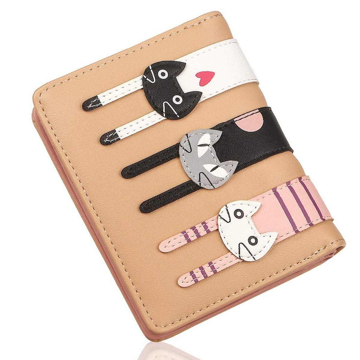 Posher AQ Women Coin Purse Cute Cat Wallet Card Holder Double-layer Wallet Clutch Bag