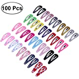 NUOLUX 100pcs 9Sets Snap Hair Clips No Slip Metal Hair Clip Barrettes for Girls Toddlers Kids Hair Accessories(Mixed Style)