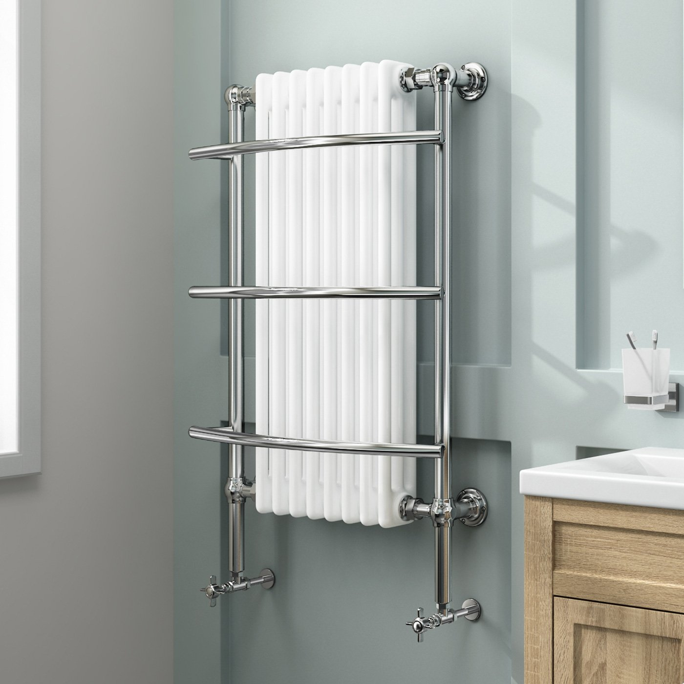 Electric Heated Towel Rails For Bathrooms Adora Designer Stainless Steel Dual Fuel Heated Towel
