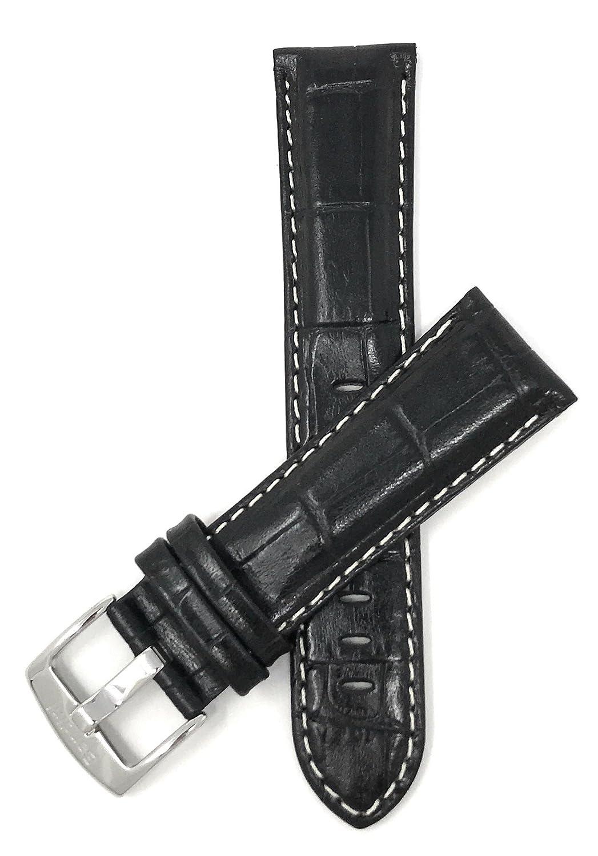 22 mm、ブラックメンズ' Alligatorスタイル本革時計バンドストラップ、ステッチホワイト、光沢仕上げ  B01JFTAKUQ