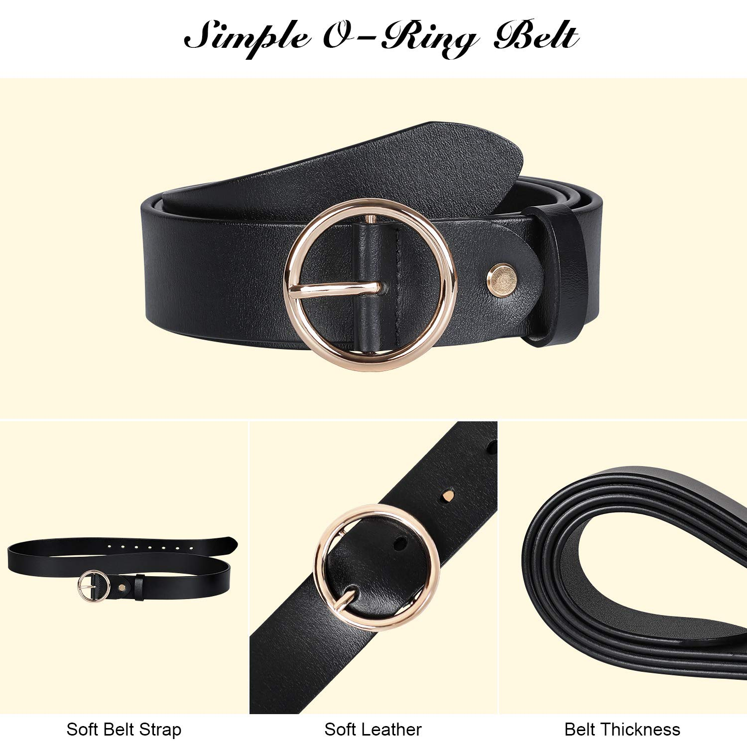 Ladies Leather O Ring Belt for Jeans Dress with Golden Round Buckle (Suit for waist size 25-29 Inches, black)