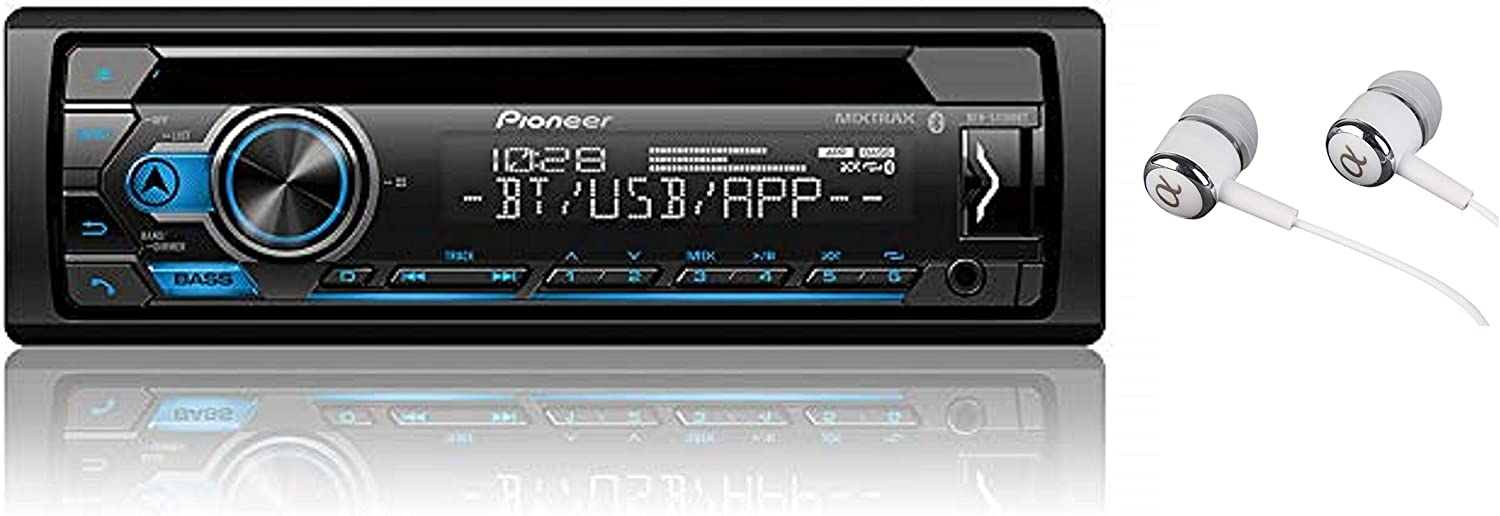 Pioneer DEH-S4100BT in Dash CD AM/FM Receiver with MIXTRAX, Bluetooth Dual Phone Connection, USB, Spotify, Pandora Control, iPhone and Android Music Support, Smart Sync App/Free ALPHASONIK Earbuds