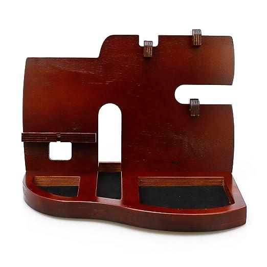 Magic Show Estación de Acoplamiento del teléfono de Madera roja con el Regalo dominante del Organizador del sostenedor, de la Cartera y del Reloj de ...