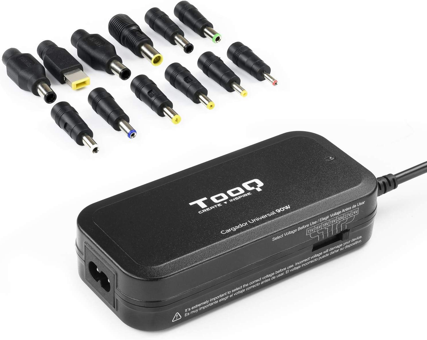 TooQ TQLC-90BS02M - Cargador Universal de 90 W para Ordenador portátil, Salida USB para Cargar Dispositivos, Incluye 12 Conectores Intercambiables DC Multitensión, (100-240V), Color Negro