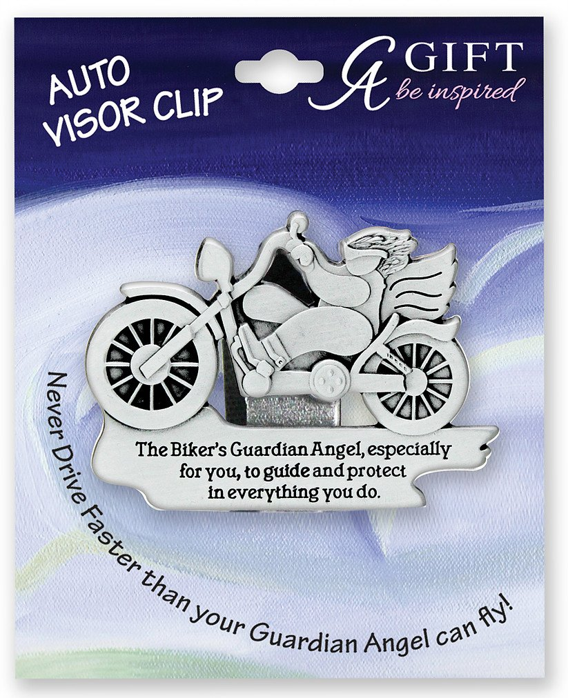 BIKER - GUARDIAN Angel Auto VISOR CLIP - Motorcyle Rider - BIKE Protect - Inspirational GIFT