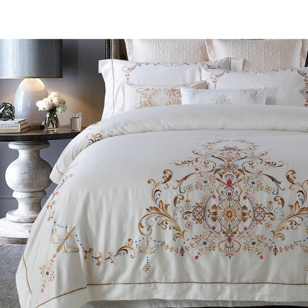 400tc simple fashion four piece set 100% cotton double bed sheet quilt cover plant floral pattern white-A Queen1