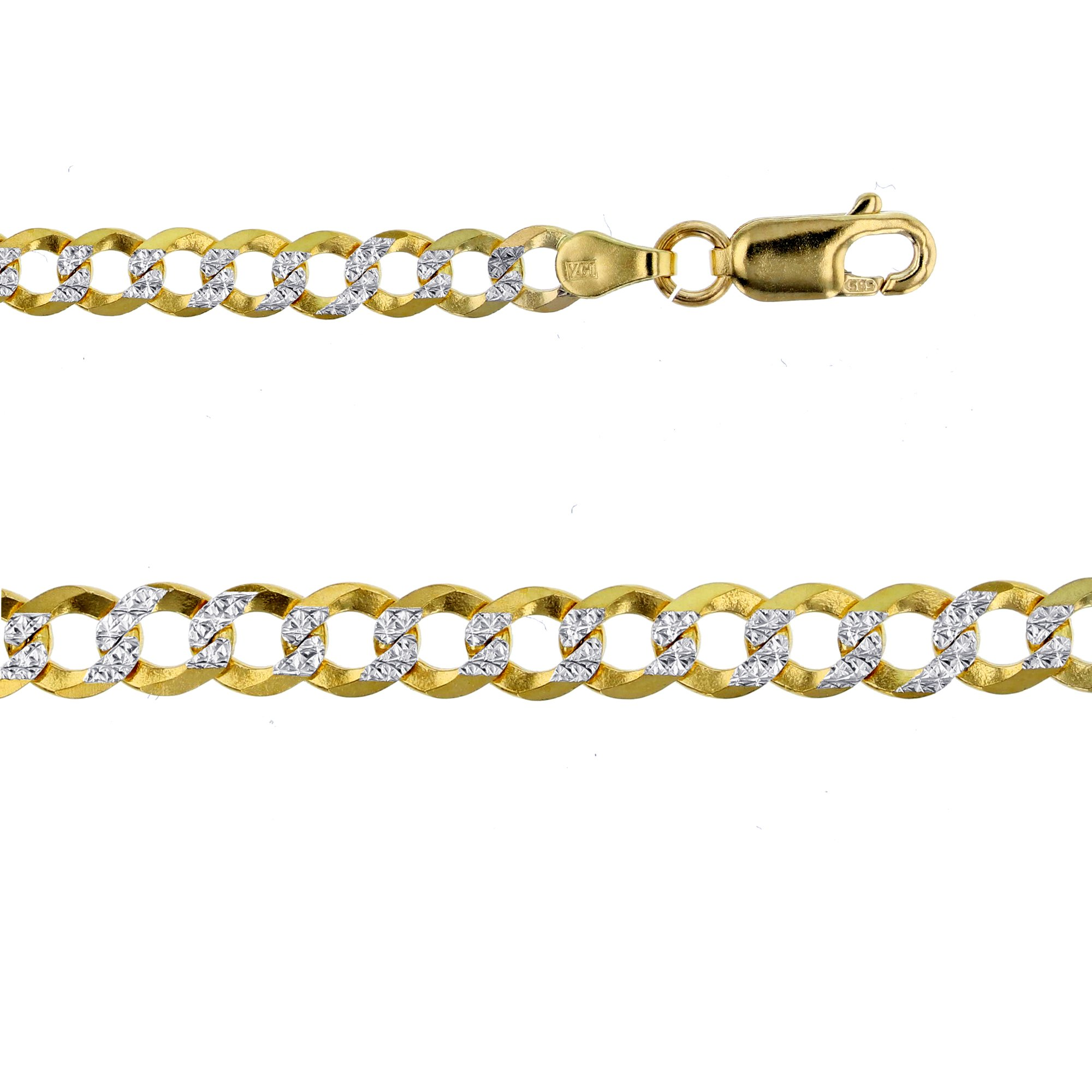 14K Gold Two Tone 4.65MM Cuban 120 8'' Bracelet