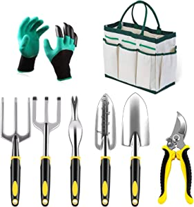 Garden Tool Set 8 Piece Cast-Aluminum Heavy Duty Gardening Kit Garden Gifts with Soft Rubberized Non-Slip Handle Garden Tote Gardening Gifts Tool Set