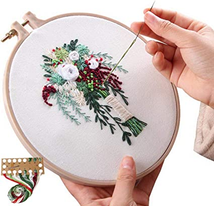 Embroidery kit wedding lovers love cross stitch kit mother/'s day gift modern hand embroidery beginner embroidery materials included