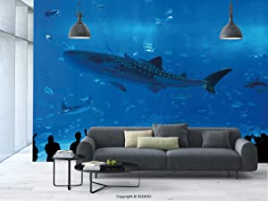aosup №10220 Removable Wall Mural | Self Adhesive Large Wallpaper | Shark, Japanese Aquarium Park with People Silhouettes Watching Underwater Life Hobby Image, Blue Black | 100X144 Inches