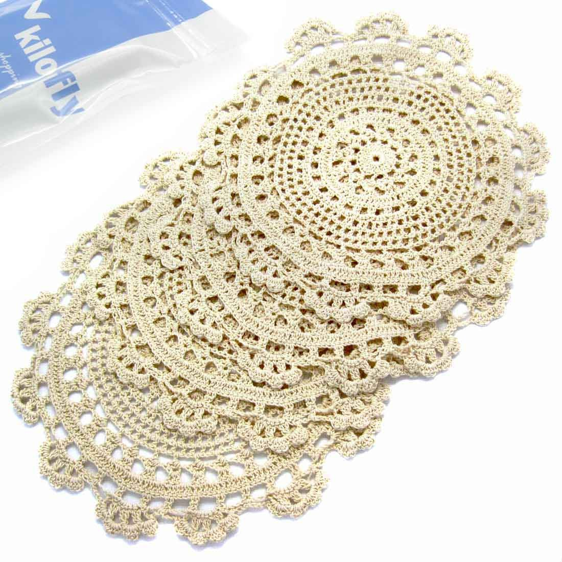 kilofly Handmade Crochet Round Cotton Lace Table Placemats Doilies Value Pack [Set of 4], Medallion, 9.8 x 9.6 inch, Beige
