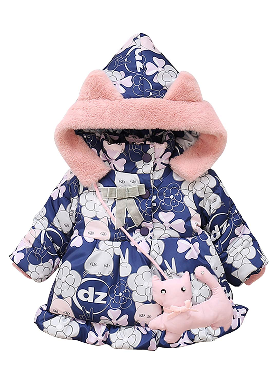 Rebavl Baby Girls Butterfly Print Hoodies Jacket Toddler Kids Long Sleeve Winter Outerwear Warm Coat 0.5 1 2 3 4 T