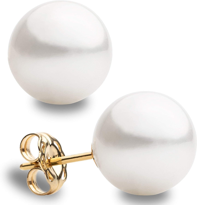 Pendientes de Perlas Redondas Cultivadas Australianas Blancas de Mujer Secret & You - Disponibles en 5 tallas, desde 10-10,5 mm hasta 12,5-13,0 mm - Pendientes de Oro de 18 k Ley 750