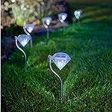【Blume】LED ソーラー ガーデン ライト 4本セット おしゃれ 上品 綺麗 ダイヤモンド型 防水 2カラー (白光色)