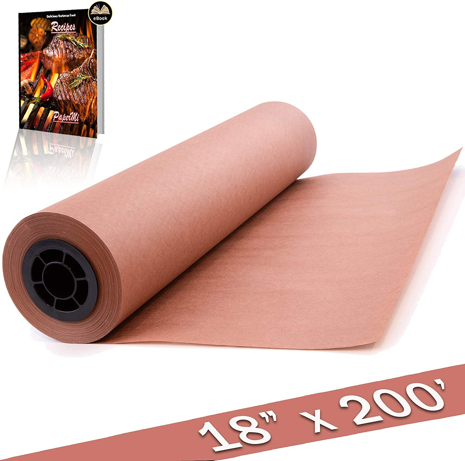 "Kraft Pink Butcher Paper Roll - 18"" x 200' (2400"") All Natural, USA Made Peach Wrapping Paper for Beef Briskets, BBQ Meat Smoking - FDA Approved Food Grade, Unbleached, Unwaxed, Uncoated Sheet"