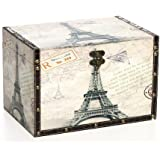 "Hosley's Large Paris Wooden Decorative Storage Box, 11.8"" Long, Keep All Your Mementos in One Place. Ideal Gift for Wedding, House Warming, Home Office"