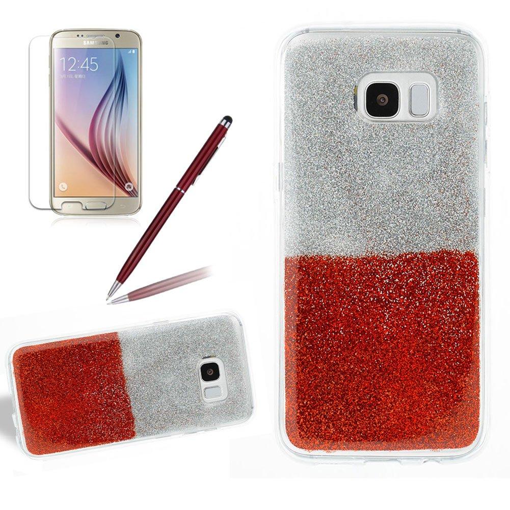 Girlyard Bling Custodia per Samsung Galaxy S8 Luminosa Brillantini - Glitter Colorato Sottile Retro Coperture Protettiva Caso Cover in Silicone TPU Morbido Antiurto per Samsung Galaxy S8 (Argento Rosa)