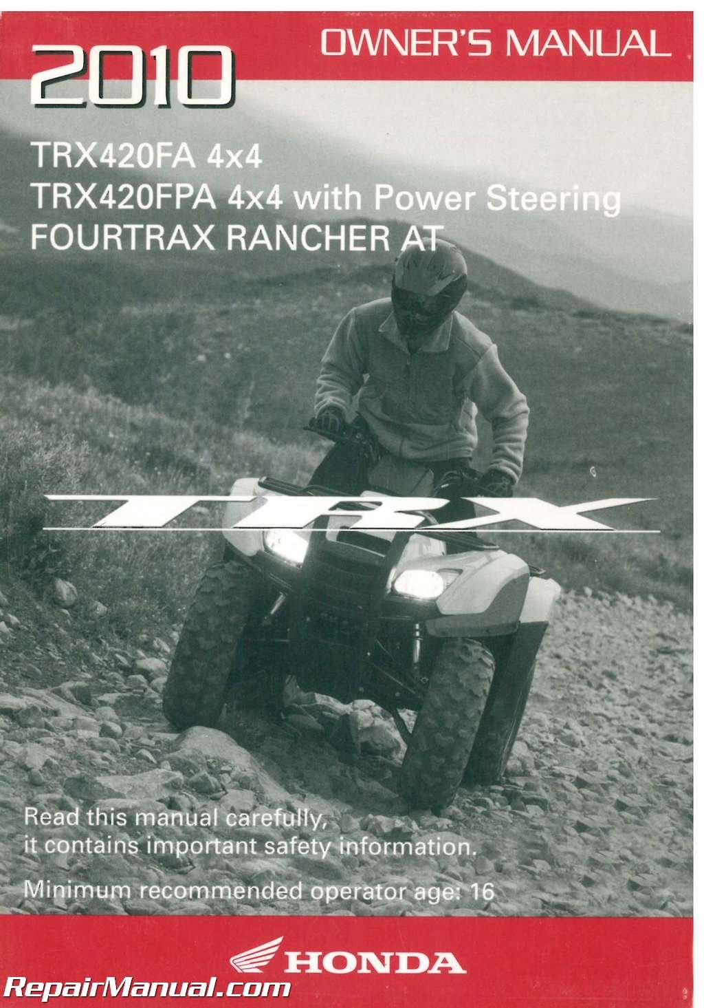 Genuine Honda ATV Owners Manual 2013 TRX420FA TRX420FPA Rancher AT