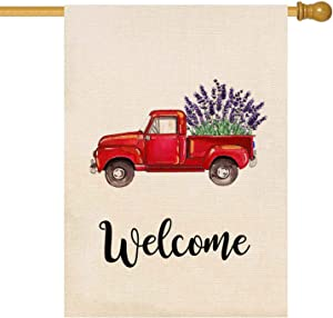 ORTIGIA Home Decorative Welcome Red Truck House Garden Flag Lavender Flower Double Sided Quote,Farmhouse House Burlap Yard Decoration, Seasonal Outdoor Décor Flag 28 x 40inch Spring Summer