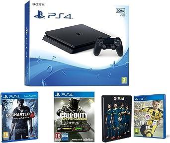 PlayStation 4 Slim (PS4) 500 GB - Consola + Call Of Duty: Infinite Warfare + Uncharted 4 + FIFA 17 + Steelbook (Exclusivo en Amazon): Amazon.es: Videojuegos