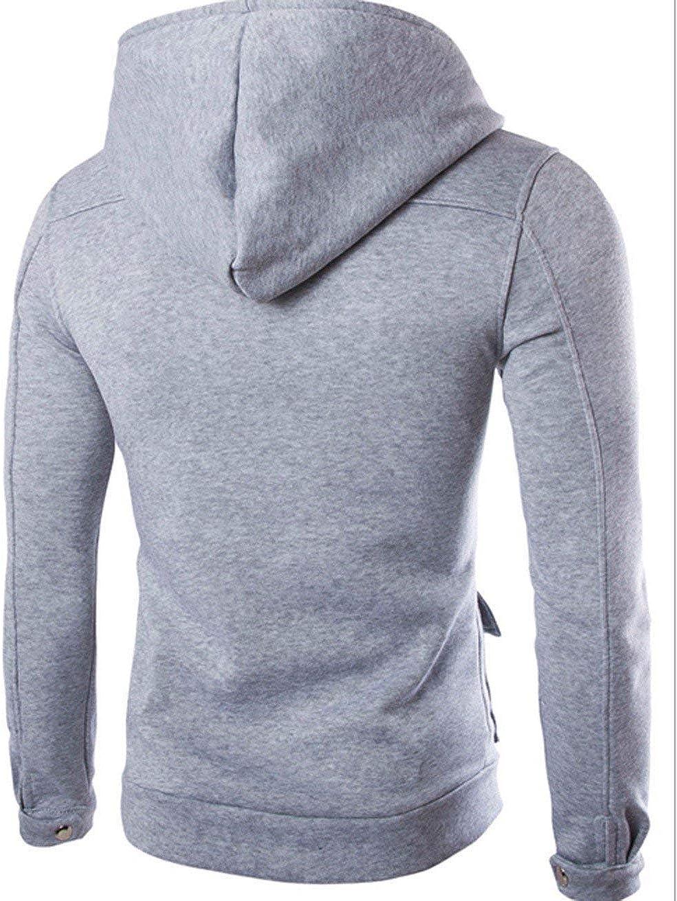 iYBUIA Autumn Winter Men Pocket Pure Coat Jacket Sweater Swearshirt Hoodie Long Sleeve Outwear