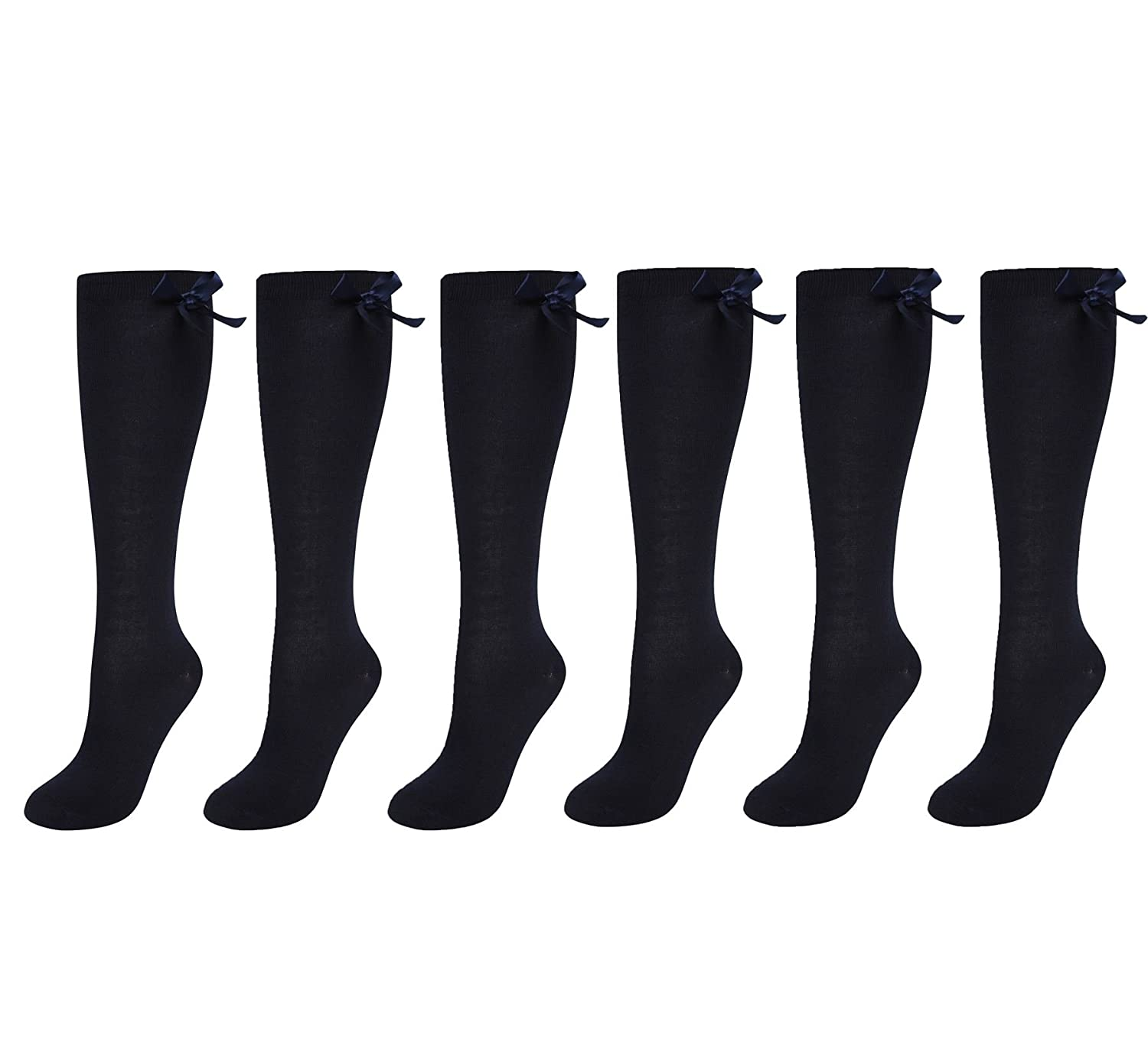 6 Pairs Of Girls Bow Knee High Socks, White Grey Black Navy Long School Socks With Ribbons Bows RZK TEXTILES