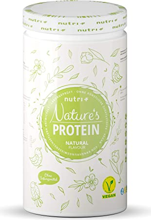 Natures Protein Powder Neutral Without Sweetener 500g - 84,8% Protein - Nutri-Plus Lactose-Free Drink - as Shake or for Baking - Gluten-Free - Vegan