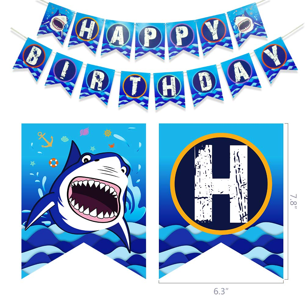 WERNNSAI Shark Party Supplies Set - Blue Ocean Pool Party Decorations for Boys Kids Birthday Banner Signs Balloons Cutlery Bag Tablecloth Plates Cups Napkins Straws Utensils Serves 16 Guests 175 PCS by WERNNSAI (Image #4)