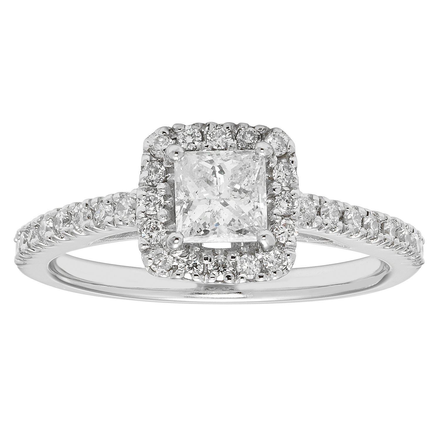 14K White Gold .80ct TDW Princess and Round Cut Diamond Halo Engagement Ring (VS2-SI1)