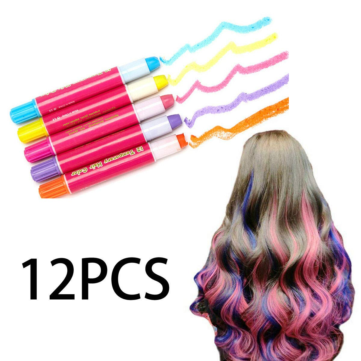 Honeybeloved Hair Dye Color Pens Non-Toxic Chalk Colorful Hair Chalk Pens 12PCS Temporary Multi color by Honeybeloved