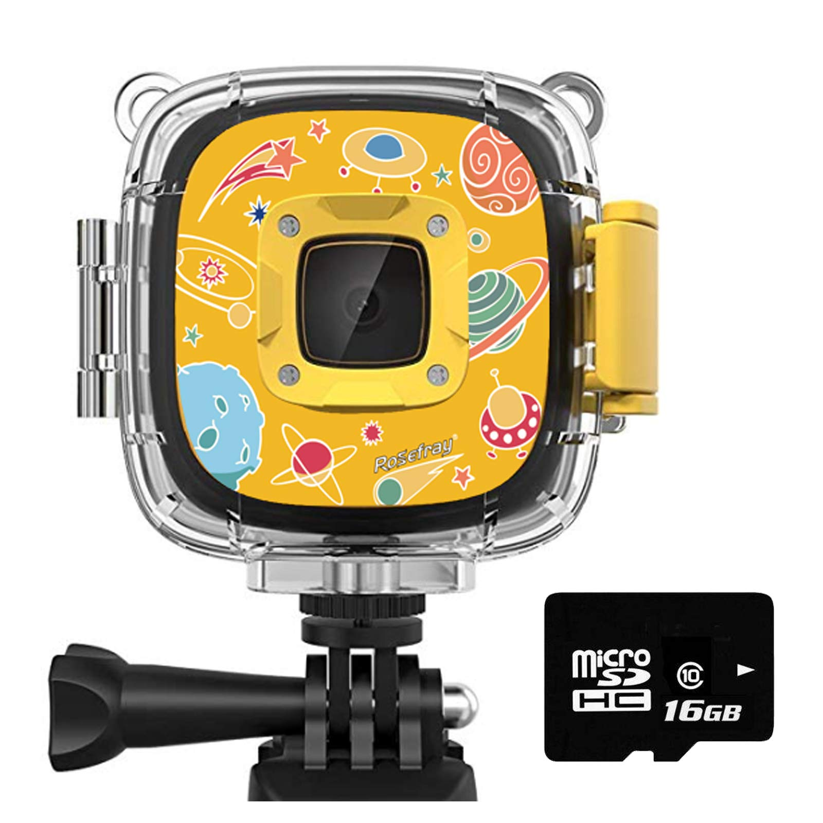 Rosefray Kids Camera,1080P HD Kids Action Camera, Sports Kids Digital Cameras for Boys and Girls, 16GB SD Card, Yellow by Rosefray (Image #1)