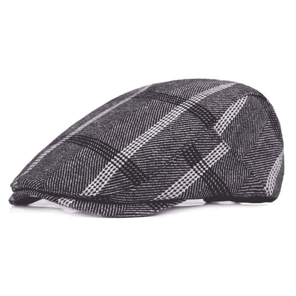 Quanhaigou Men's Newsboy Ivy Hat, Cotton Flat Driving Cabbie Golf Cap Hunting Beret Dad Hats (Grey Plaid)